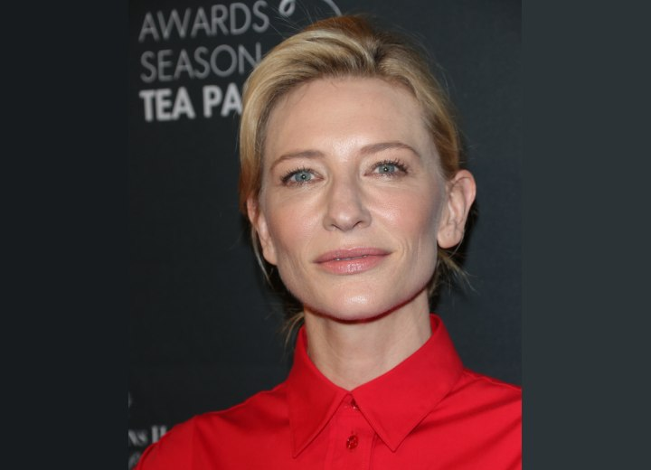 Cate Blanchett with a crisp buttoned up collar