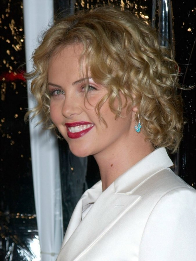 Surprising Charlize Theron Well Above The Shoulders Curly Bob Haircut Hairstyles For Men Maxibearus