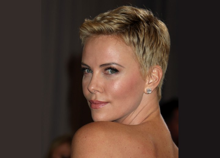 Charlize Theron with super short hair