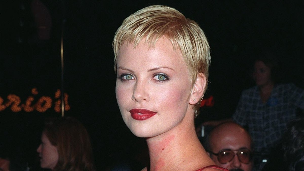 Charlize Theron Short Pixie Haircut With Gelled Hair