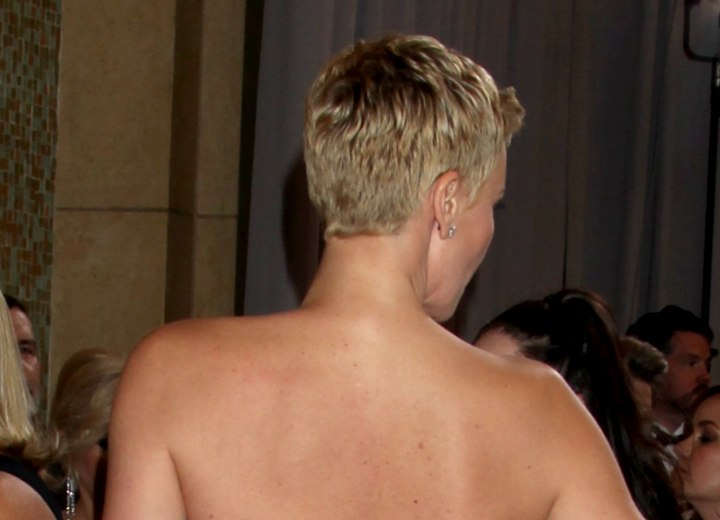Back view of Charlize Theron's pixie cut