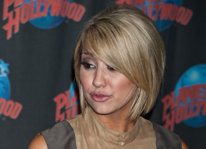 chelsea kane | past the jaw line bob haircut with layers around