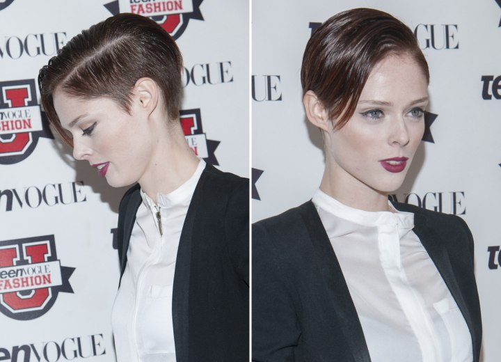 Side view of Coco Rocha's very short hairstyle