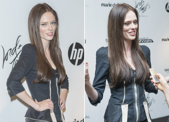Coco Rocha with sleek and past the shoulders long hair