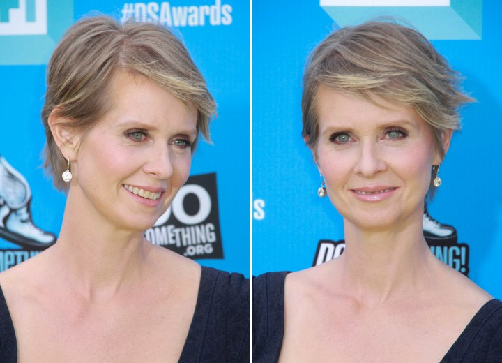 Cynthia Nixon S Pixie Short Low Maintenance Hairstyle