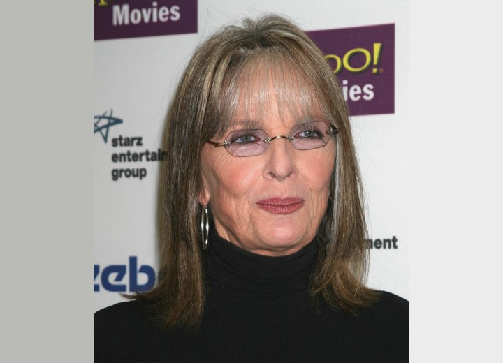 Diane Keaton almost sixty and with shoulder length hair