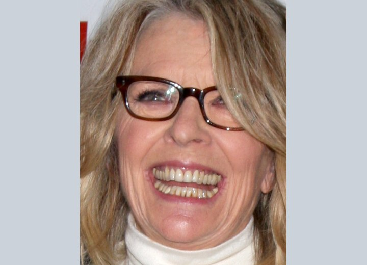 Diane Keaton's  hair coloring with lowlights