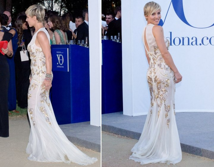 Side and back view of Elsa Pataky's short haircut