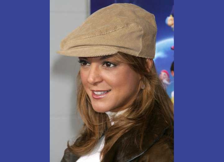 Side view of Eva LaRue's hairstyle and hat