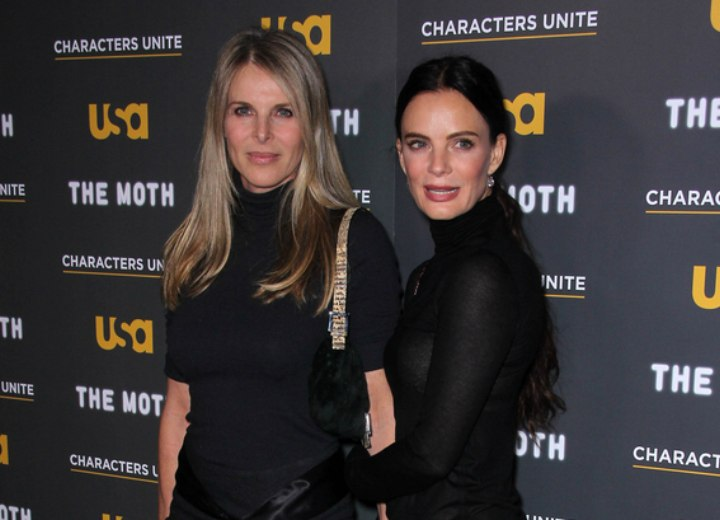 Gabrielle Anwar and Catherine Oxenberg with simple long hairstyles to bring out natural beauty