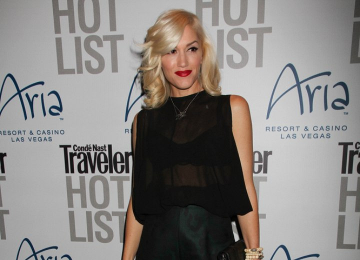 Gwen Stefani wearing a sheer black top