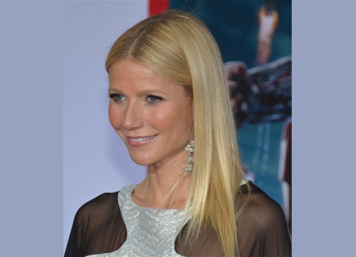 Gwyneth Paltrow with her long hair pulled to one side