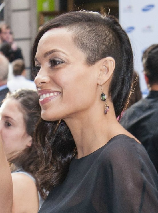 Rosario Dawson With The Side Of Her Head Shaved