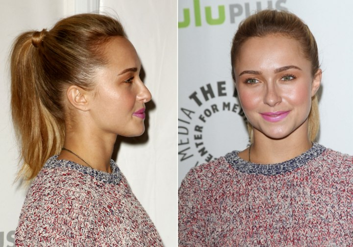 Hayden Panettiere wearing her hair in a high ponytail - Side view