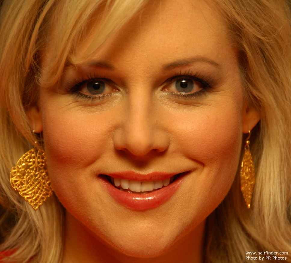 Abi Titmuss Slithered Bangs Styled To Frame The Face And