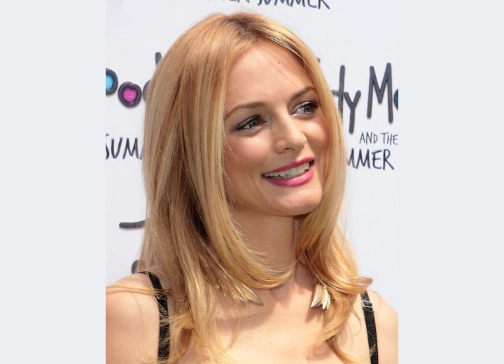 Heather Graham's long hair with a centered part