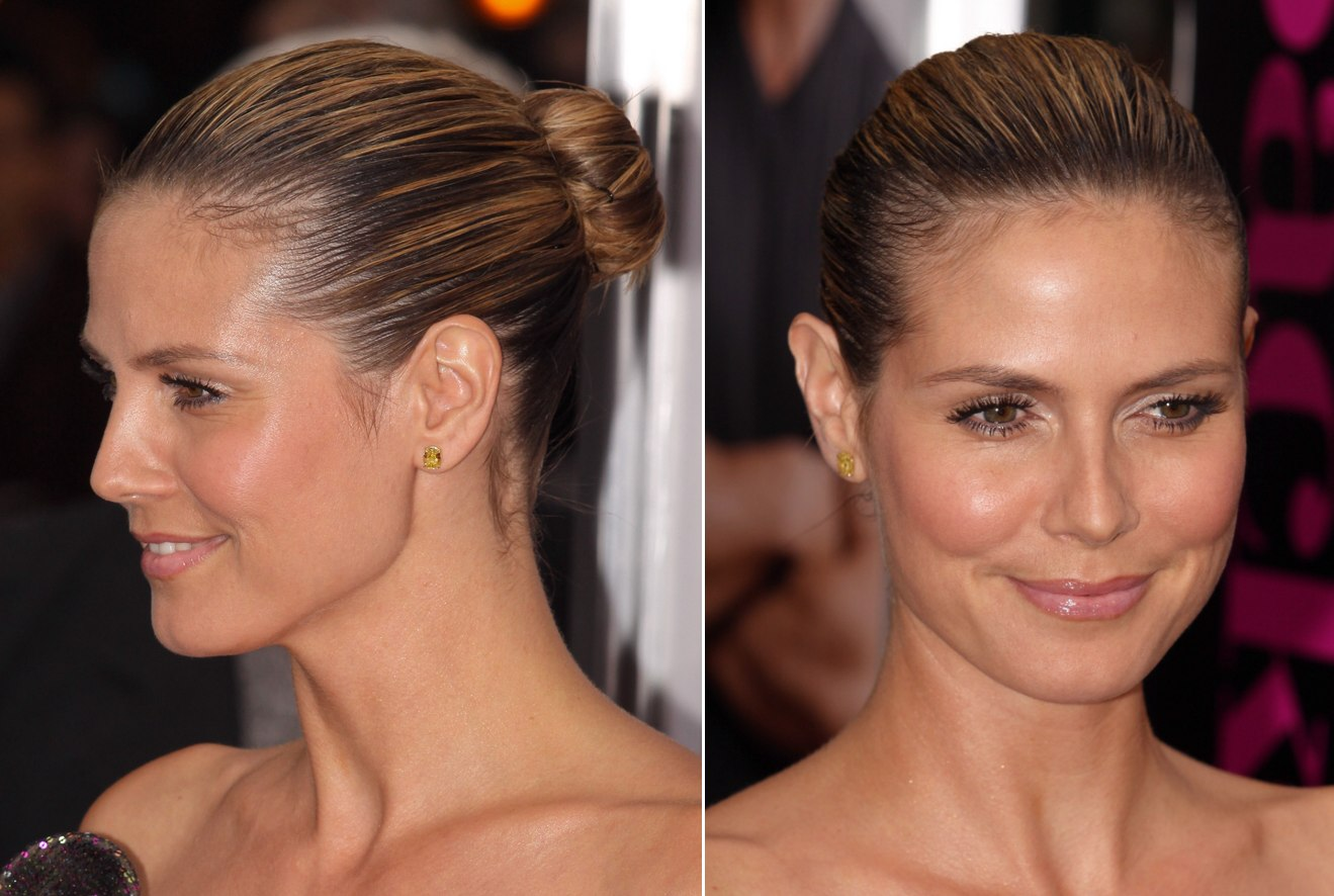 Pulled Back Hair Styles: Heidi Klum With Her Hair Severely Pulled Back Into A