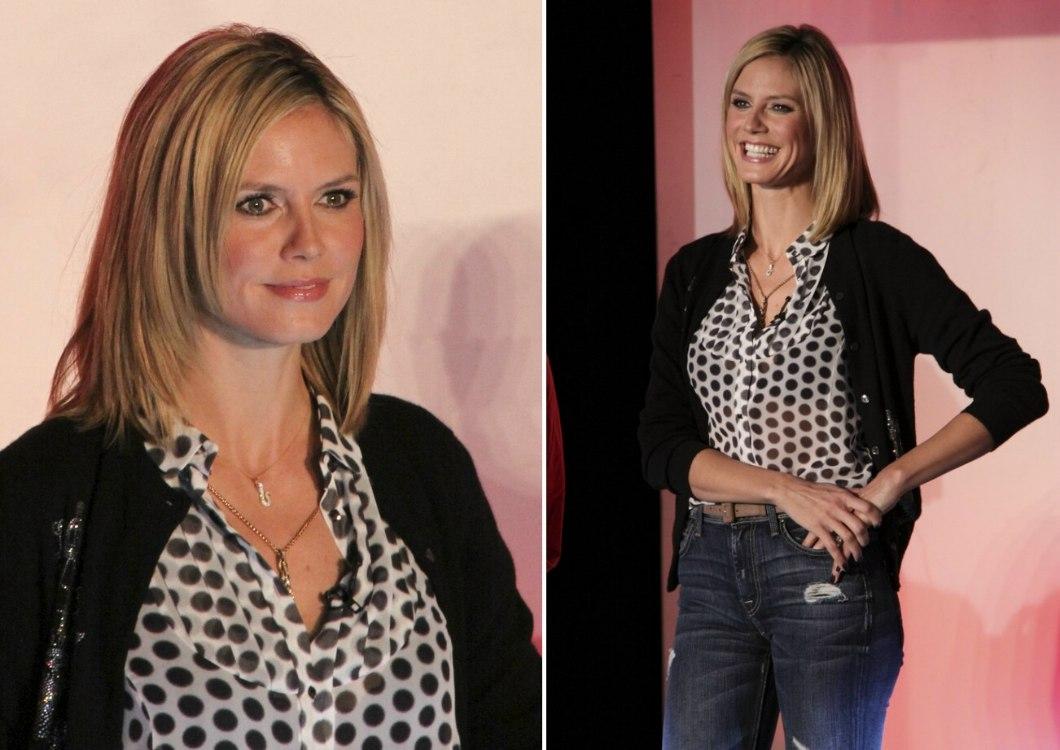 Heidi Klums New Angled Collar Hugging Haircut And Saffron Burrows