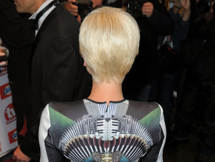 Back view of Helen George's pixie haircut