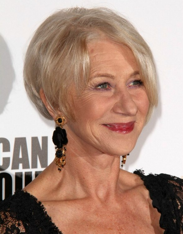Helen Mirren | Trendy and rejuvenating haircut for 60 plus women with gray hair