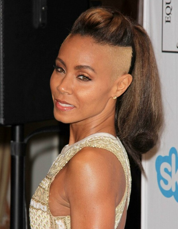 Jada Pinkett Smith Hairstyle With A Buzzed And Bleached Section And A High Ponytail