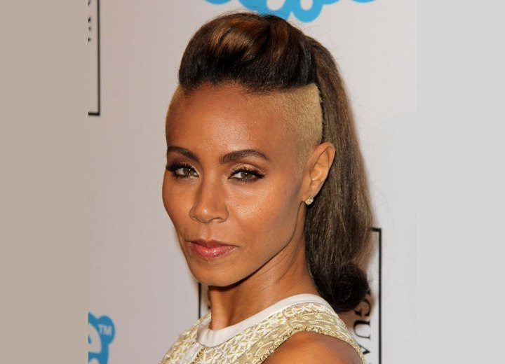 Jada Pinkett Smith with buzzed and bleached hair