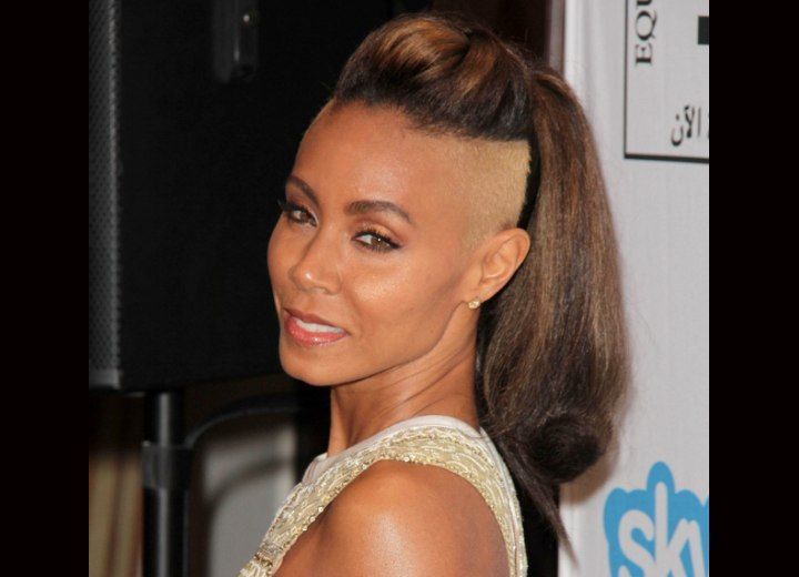 Jada Pinkett Smith - Partly buzzed hair and high ponytail