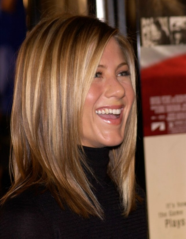 Jennifer Aniston Sleek Ironed Hair With Natural Blended Highlights