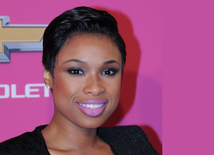 Jennifer Hudson with her hair cut short into a pixie