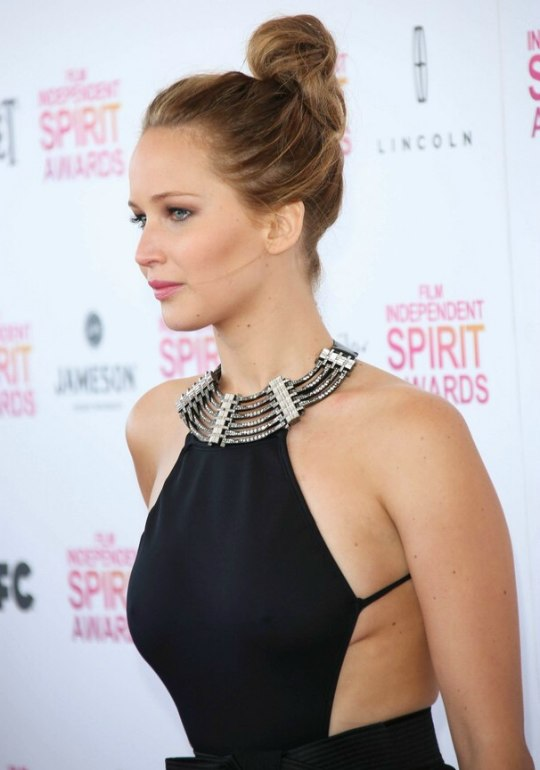 Jennifer Lawrence Updo With The Hair Pulled Back And