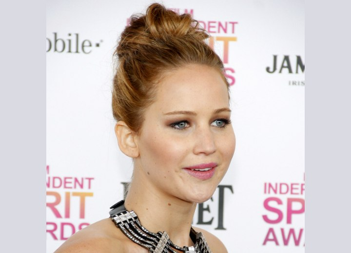 Jennifer Lawrence - Top knot updo with a messy bun