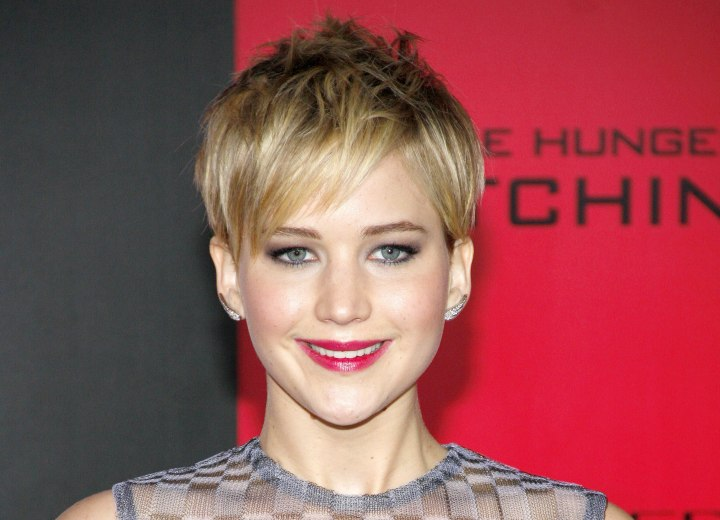 Jennifer Lawrence sporting a well cut pixie
