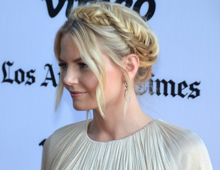 Jennifer Morrison wearing her hair in a braided updo