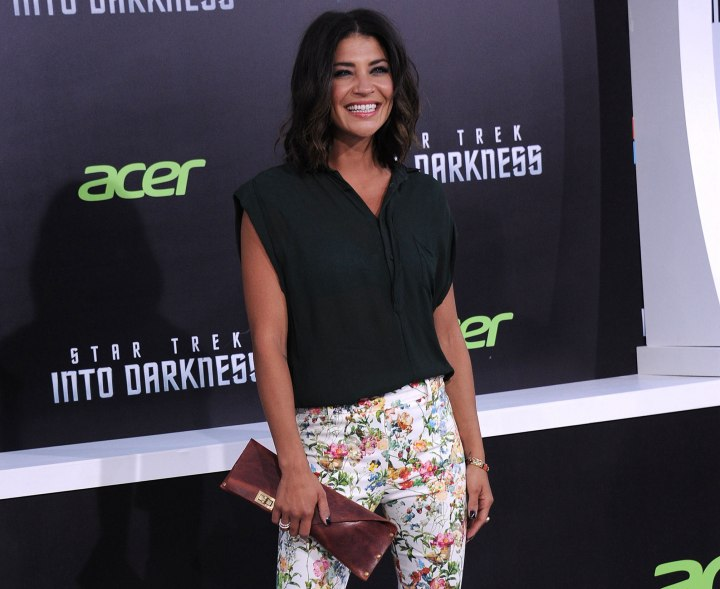 Jessica Szohr wearing a sheer green blouse