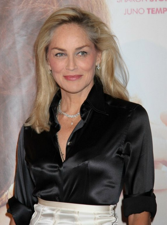Sharon Stone | Long smoothed hairststyle and a shiny