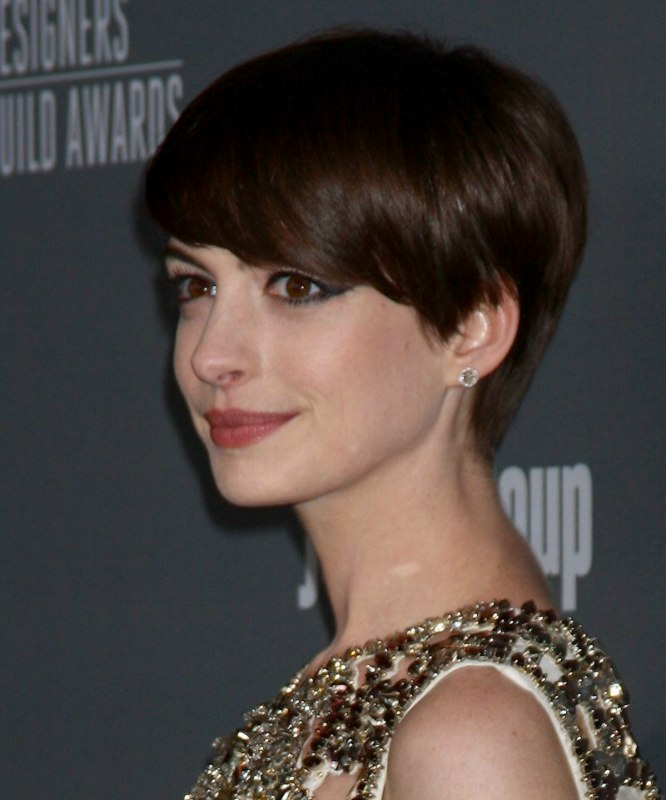 ... Hathaway | Slightly grown out pixie haircut with heavy beveled bangs