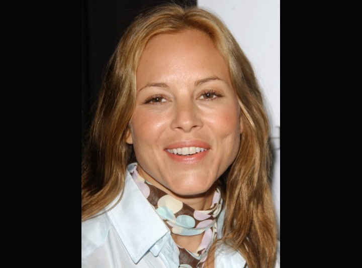 Maria Bello's casual long hairstyle