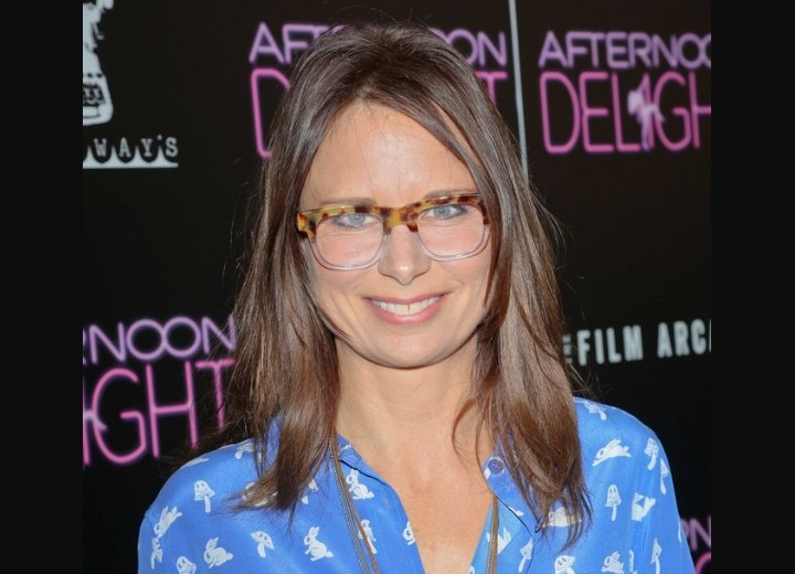 Mary Lynn Rajskub wearing a fun and simple long hairstyle