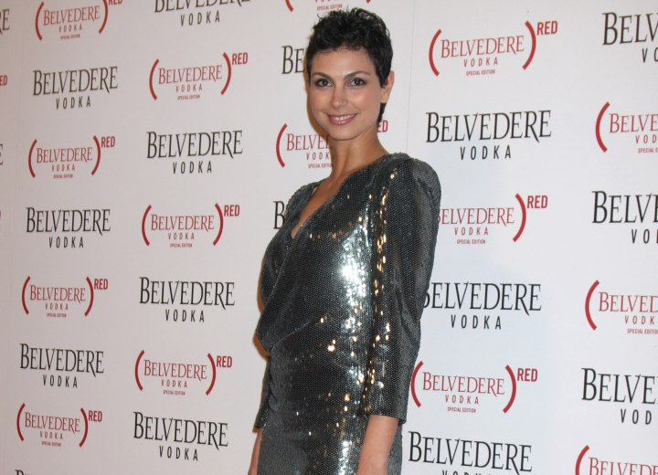 Morena Baccarin wearing a short silver dress