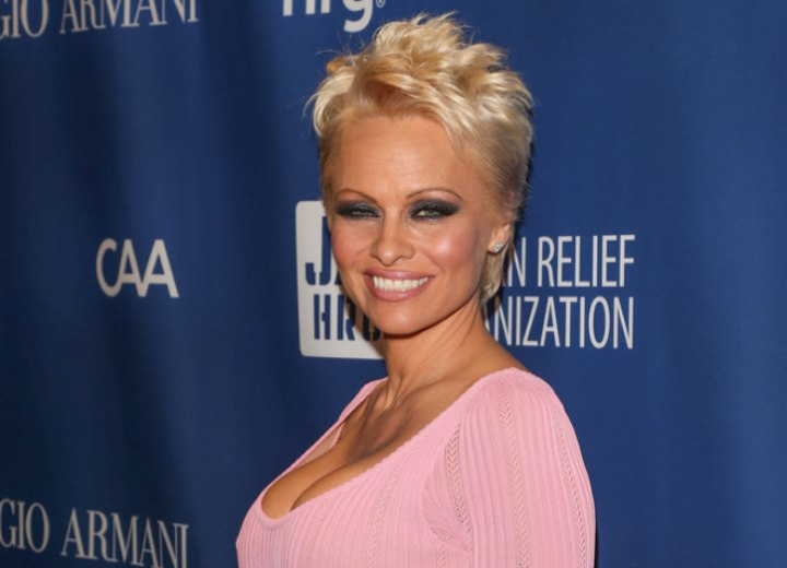 Pamela Anderson with very short hair