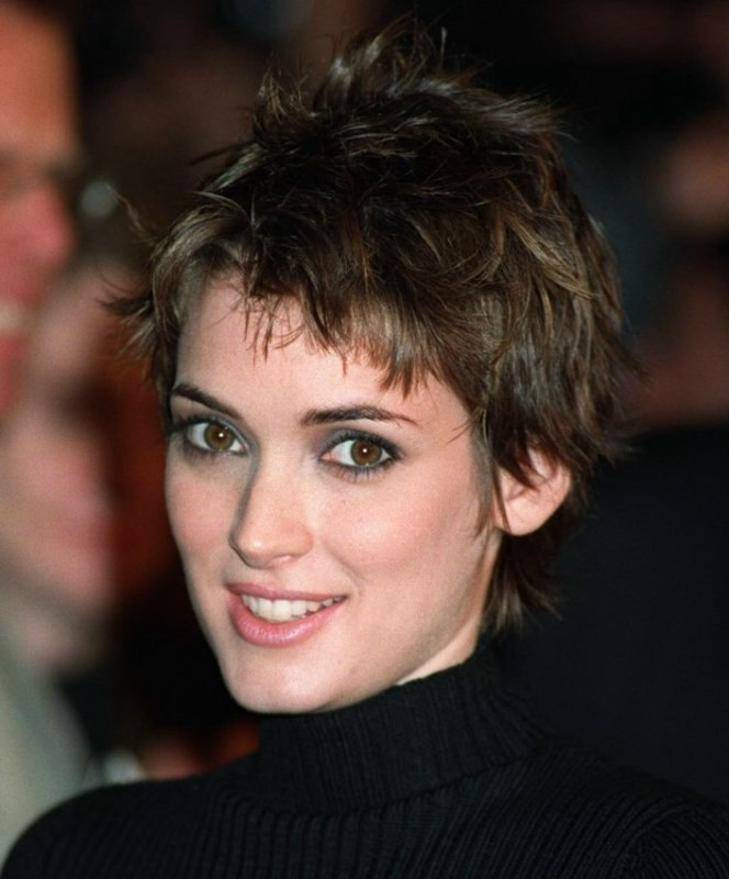 Winona Ryder Short Pixie Cut With A Longer Neck And A