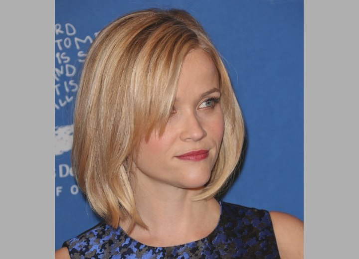 Tremendous Reese Witherspoon Blonde Hair In A Longer Bob With Side Bangs Short Hairstyles For Black Women Fulllsitofus