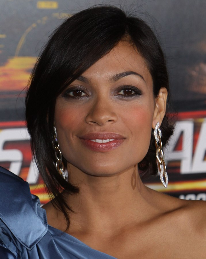 Rosario Dawson Updo With A Low Side Bun And An Off The