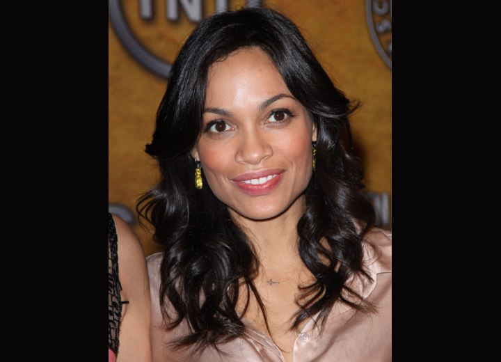 Rosario Dawson wearing her hair down