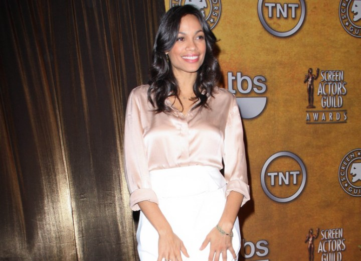 Rosario Dawson wearing a silk blouse and skirt