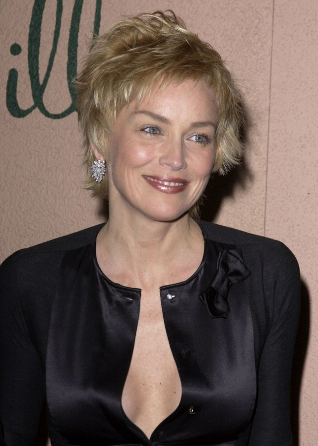 Sharon Stone Stunning short pixie haircut with a soft