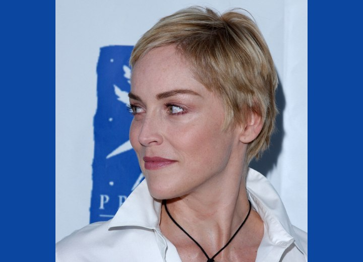 Sharon Stone - Pixie with hair over the ears