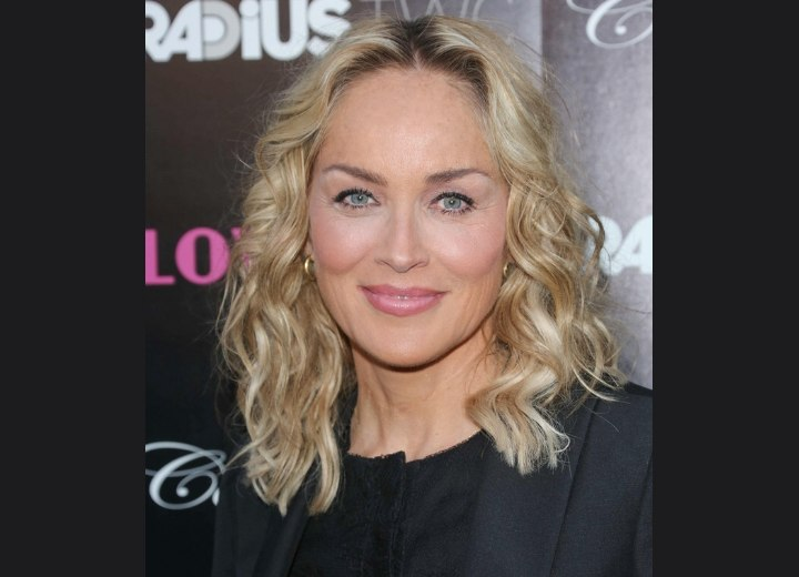 Sharon Stone's medium length hairstyle for a youthful appearance