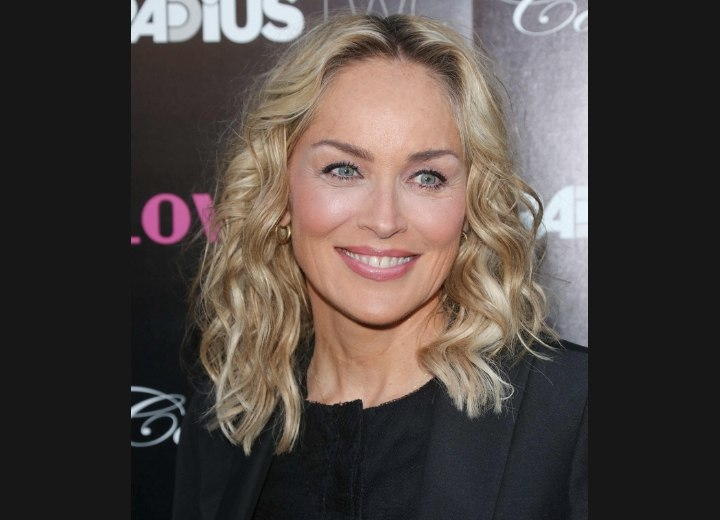 Sharon Stone with a hairstyle that complements her face shape
