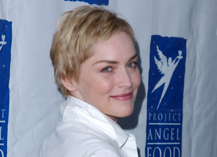 Sharon Stone's pixie cut and upturned blouse collar